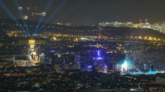 Top view from tibidabo of National Art Museum timelapse at Placa Espanya in Stock Footage