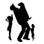 Vector silhouette of people with dog. - stock illustration