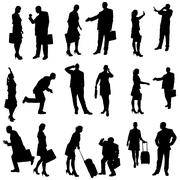 Vector silhouette of business people. - stock illustration