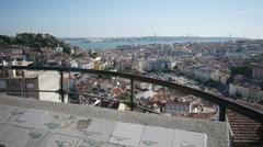 Dolly shot of Lisbon cityscape from Miradouro Senhora do Monte Stock Footage