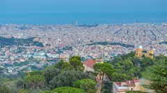 Panorama of Barcelona day to night timelapse from Mount Tibidabo. Catalonia Stock Footage