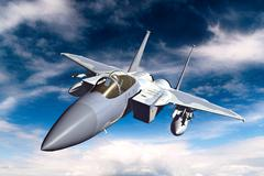 3D rendering of a modern US jet fighter in flight - stock illustration