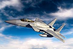 3D rendering of a modern US jet fighter in flight Stock Illustration