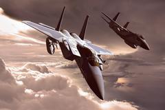 3D rendering of a modern US jet fighter in flight - stock illustration
