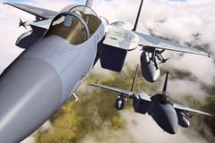 3D rendering of a modern US jet fighter in flight Stock Illustration