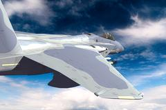 Stock Illustration of 3D rendering of a modern US jet fighter in flight