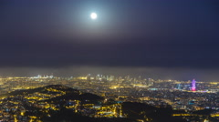 Panorama of Barcelona night timelapse from Mount Tibidabo. Catalonia, Spain Stock Footage