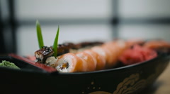 Sushi rolls laid out on a plate Stock Footage