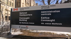 Canada Revenue Agency sign in Ottawa, Canada. Stock Footage