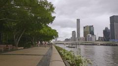 Clem Jones Promenade Boulevard , Brisbane River 4K Stock Footage