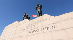 Reconciliation. Peacekeeping monument in Ottawa, Canada. - stock footage