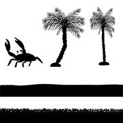 Vector silhouettes of palm trees. - stock illustration