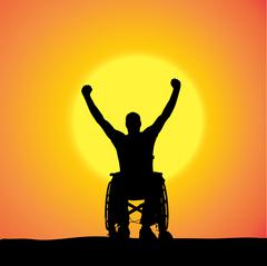 Vector silhouettes of man in a wheelchair. - stock illustration