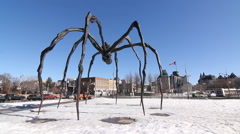 Spider sculpture in front of National Art Gallery in Ottawa, Canada. Stock Footage
