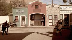 Reenactment of the Shootout at The OK Corral in Tombstone, Arizo Stock Photos