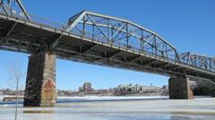 Alexandra bridge on sunny winter day. Gatineau, Quebec. Stock Footage