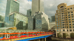 Canary Wharf and DLR Time Lapse Stock Footage