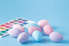 Hand Painted Easter Eggs in Pastel Colors Stock Photos