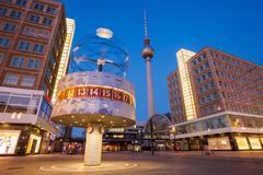 Berlin Alexanderplatz and World Clock Stock Photos