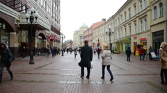 Arbat street in Moscow city center Stock Footage