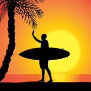 Vector silhouette of a man with a surfboard. - stock illustration