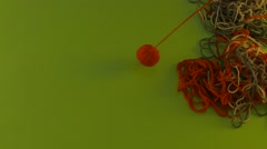 Yarn Ball Falls Down Threads of Wool on Green Screen Threads Are Moving Cut Stock Footage