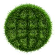 Green grass with the outline dark areas in form an icon of globe - stock illustration