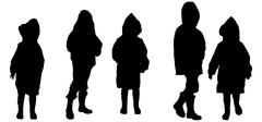 Vector silhouette of children in raincoats. Stock Illustration