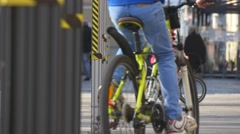 Kid is Riding the Bike by Street Day of Opole City Poland Child is Riding Among Stock Footage