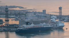 Passenger ships and a powerboat timelapse in port of Barcelona, Spain Stock Footage