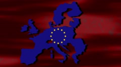 Map of European Union With the Image of the Terrorist scatters to the Countries Stock Footage