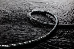 Coiled metal tube in water Stock Photos