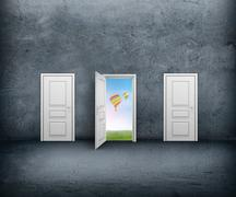 Open door with a view of the sky and hot air balloons. Concrete room Stock Illustration