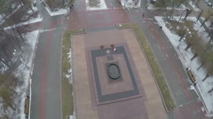 Flying over the Square of Fallen Soldiers, Volgograd Stock Footage