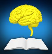 The brain is close-up on book. It symbolizes knowledge of new ideas Stock Illustration