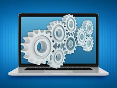 Laptop with gears. Repair and maintenance of computers. Teamwork - stock illustration