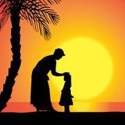 Vector silhouette of family. - stock illustration