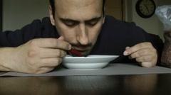 Eat breakfast, sleep on the plate Stock Footage