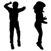 Vector silhouette of children. Stock Illustration