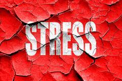 Grunge cracked Stress sign background - stock illustration