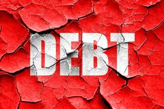 Grunge cracked Debt sign with some smooth lines Stock Illustration