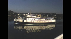 Vintage 16mm film, 1952, entering Victoria harbour old boats Stock Footage