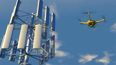 UAV drone inspecting a cellular communications array - stock footage