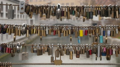 Padlocks on the Butchers' Bridge in Ljubljana Stock Footage