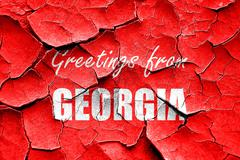 Grunge cracked Greetings from georgia - stock illustration