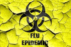 Grunge cracked Flu virus concept background - stock illustration