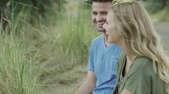 Medium slow motion shot of couple hugging / Mona, Utah, United States Stock Footage