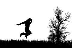 Vector silhouette of jump. Stock Illustration