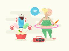 Fat girl with a hoop - stock illustration