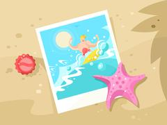 Photos surfer on the a wave crest Stock Illustration